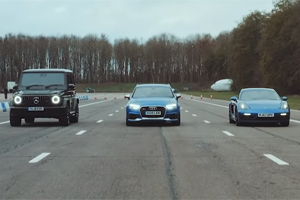(VIDEO) Drag racing mai puțin obișnuit: Audi RS3 vs Mercedes-AMG G 63 vs Porsche 718 Cayman GTS