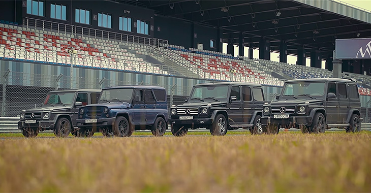 (VIDEO) Un UAZ de 400 CP vs. trei Mercedesuri G-Class 55 AMG!