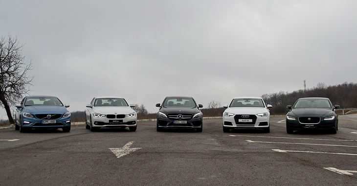 Audi A4 vs BMW Seria 3 vs Jaguar XE vs Mercedes-Benz C-Class vs Volvo S60